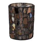 Glass Lantern Cylinder Mosaic,10x8x8 cm, Brown