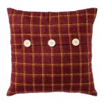 Fabric cushion checkered w.buttons,FRANZ, 40x40cm, red