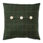 Fabric cushion checkered w.buttons,FRANZ, 40x40cm, dark green