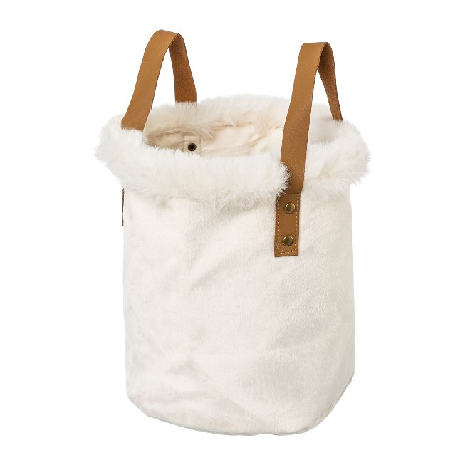Velvet fabric planter with fur,rim and leather handle ,