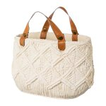 Cement bag with leather handles,ALABAMA, 28x18x19cm, creme