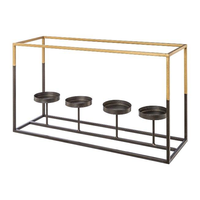 Metall Rahmen 4er Kerzenhalter m.Glas GOLDEN TOUCH