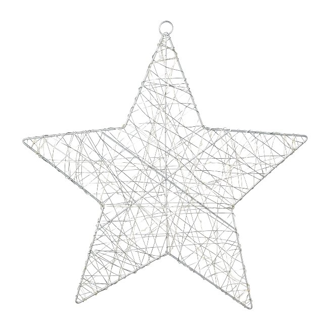 Wire Star With 30 Led, 30 cm,Silver, With 6H Timer
