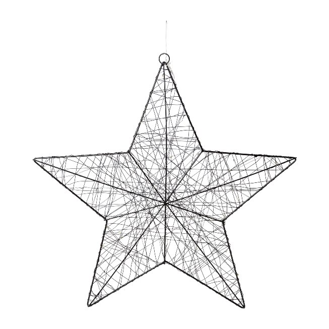 Wire Star With 50 Led, 50 cm,Black, With 6H Timer Function,