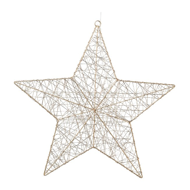 Wire Star With 50 Led, 50 cm,Champagne, With 6H Timer