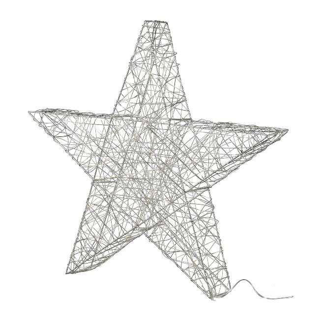 Wire Star 3D With 40 Led, 40,cm, Silver, With 6H Timer
