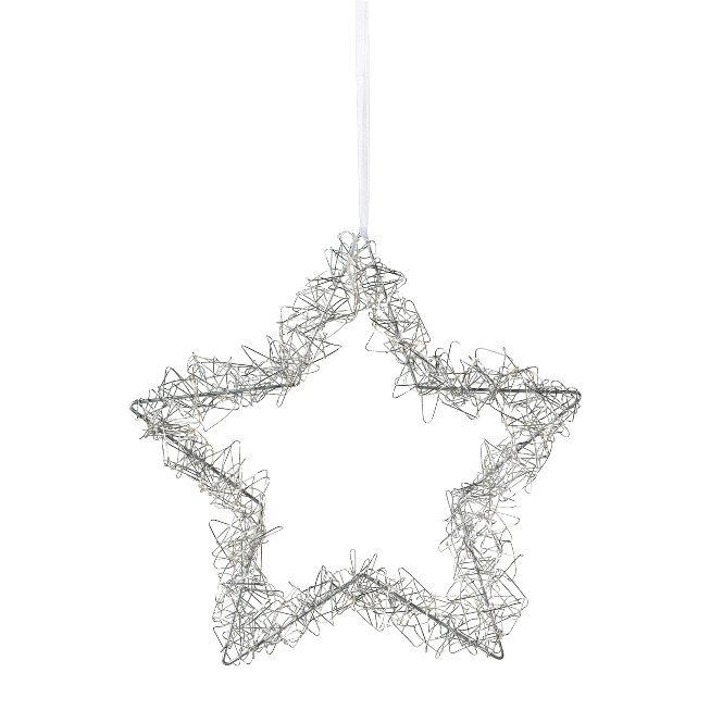 Wire Star Wreath Hanger With,35 Led Sizzled, 35 cm, Silver,