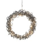 Metal wire wreath w.30LED,LOOP WIRE, 3xAA 6h TIMER