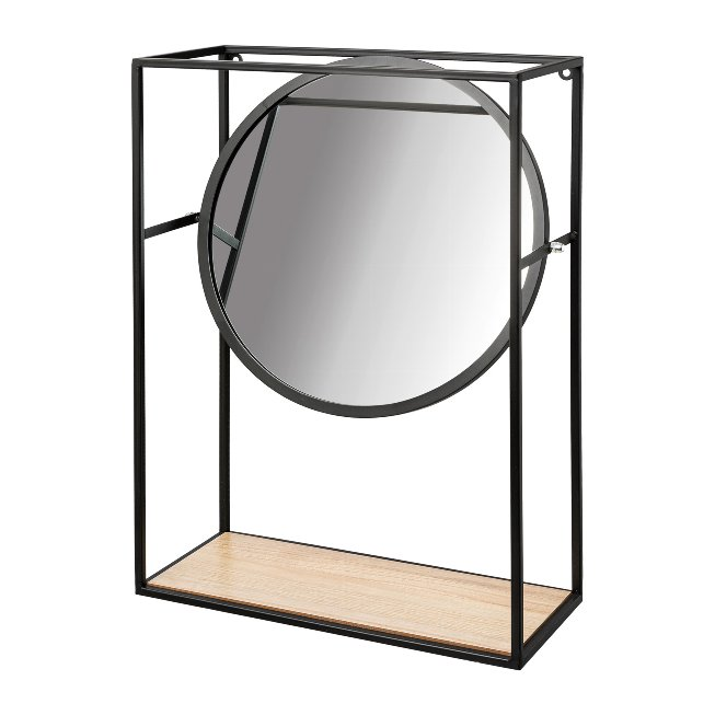 Metal Wall Shelf With Mirror,And Wooden Inlay Odense,