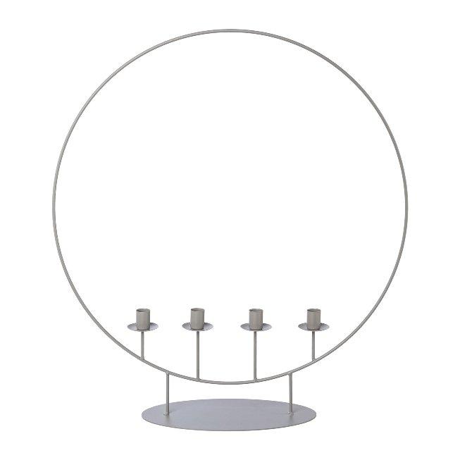 Metal 4 candle holder ring,OSCAR, 55x14x60cm, grey
