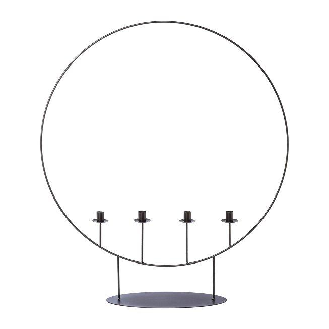 Metal 4pcs. candleholder ring,OSCAR, 70x15x80cm, black