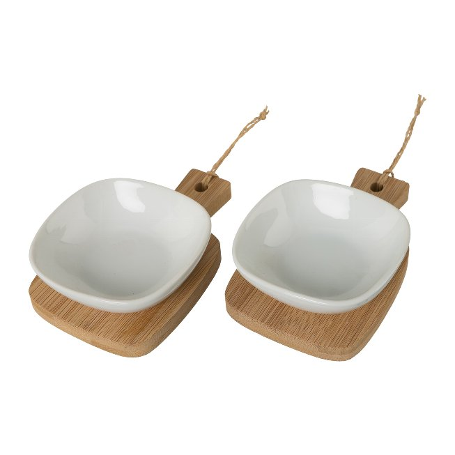 Tapas Dipset made of bamboo wood and ceramic, set of 2, 17x2,5x4cm, natural color/white